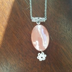 Jewelry - Women's pink and Flowery statement necklace